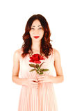 Girl with rose. Royalty Free Stock Image