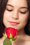 Girl and Rose Stock Image
