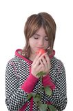 Girl with rose Stock Images