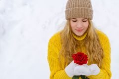 Girl with a rose on the background of snow royalty free stock photos