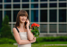 Girl rose call Royalty Free Stock Photography