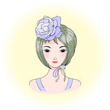Girl with a rose. Hand drawn vector portrait of a young beautiful Asian woman with short haircut, rose and ribbon. Anime style graphic illustration. Design stock illustration