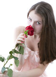 Girl with a rose in hands 3 Royalty Free Stock Photo
