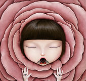 Girl in  rose petal Stock Photos