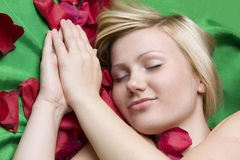 Girl in rose petal on green background Royalty Free Stock Image