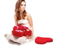 Girl with rose petals Stock Image