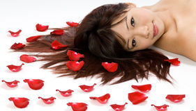 Girl and Rose Petals Royalty Free Stock Images