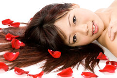 Girl and Rose Petals. A young Asian woman lying on the studio floor with red rose petals Royalty Free Stock Photo