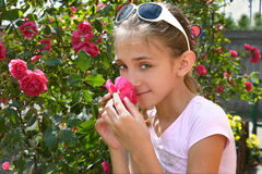 The girl with rose Stock Photo