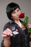Girl with rose and wedding ring Royalty Free Stock Photo