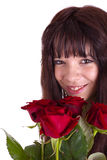 The girl with roses Stock Photo