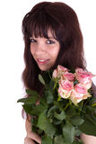 The girl with roses Royalty Free Stock Photos