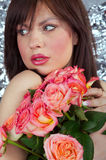 The girl and roses Royalty Free Stock Photos