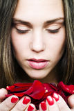 Girl with roses. Beauty royalty free stock image