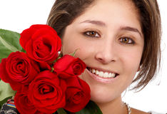 Girl with roses Stock Photography
