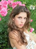 Girl and roses Royalty Free Stock Images