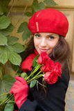 Girl with roses Royalty Free Stock Images