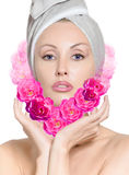 The girl with roses in the form of heart Royalty Free Stock Image