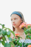 Girl with roses isolated Stock Images