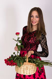 Girl with roses Royalty Free Stock Photo