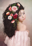 The girl in roses Royalty Free Stock Photos