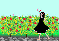Girl with roses. A pretty girl walking at the garden with roses vector illustration