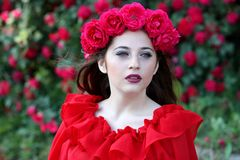 Girl, Roses, Red, Wreath, Flowers Royalty Free Stock Image