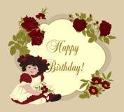 Girl and roses. Retro. Doll. Birthday. Flowers. Vintage postcard. Vector frame. Girl and roses. Retro. Doll. Birthday Stock Photography