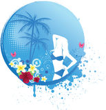 Girl on round blue tropical banner Royalty Free Stock Photo