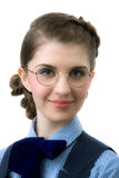 The girl in round glasses Royalty Free Stock Photos