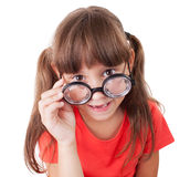 Girl with round glasses Royalty Free Stock Images