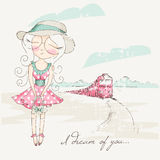 Girl in round shape eyeglasses dreaming with closed eyes Royalty Free Stock Photography