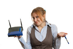 Girl with router Stock Photo