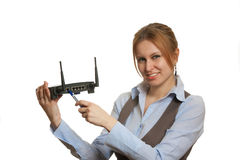 Girl with router Royalty Free Stock Image
