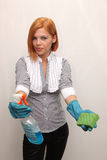 Girl in rubber gloves. Beautiful girl with rubber and gloves Royalty Free Stock Photos