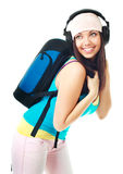 Girl with a rucksack Royalty Free Stock Image