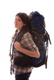 Girl with a rucksack Stock Images