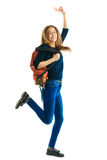 Girl with a rucksack and color folders Royalty Free Stock Photos