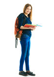 Girl with a rucksack and color folders Stock Image