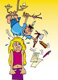 Girl and rude brother. Cartoon illustration of blonde teen girl and her rude little brother Royalty Free Stock Photo