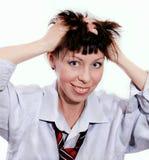 Girl ruffle his hair Royalty Free Stock Image