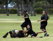 Girl Rugby Tackle Stock Photos