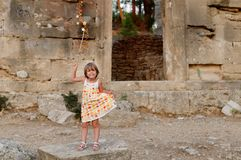 Girl and ruined building Royalty Free Stock Photo