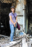 Girl on the ruins Stock Images