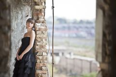 Girl in ruins Royalty Free Stock Images