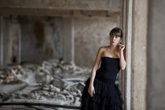 Girl in the ruins Stock Photography