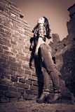 Girl in ruins Royalty Free Stock Photos