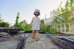 Girl at Ruins Royalty Free Stock Images