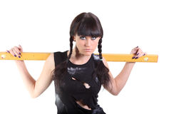 Girl with a ruler Royalty Free Stock Photos