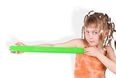 The girl with a ruler stock photos